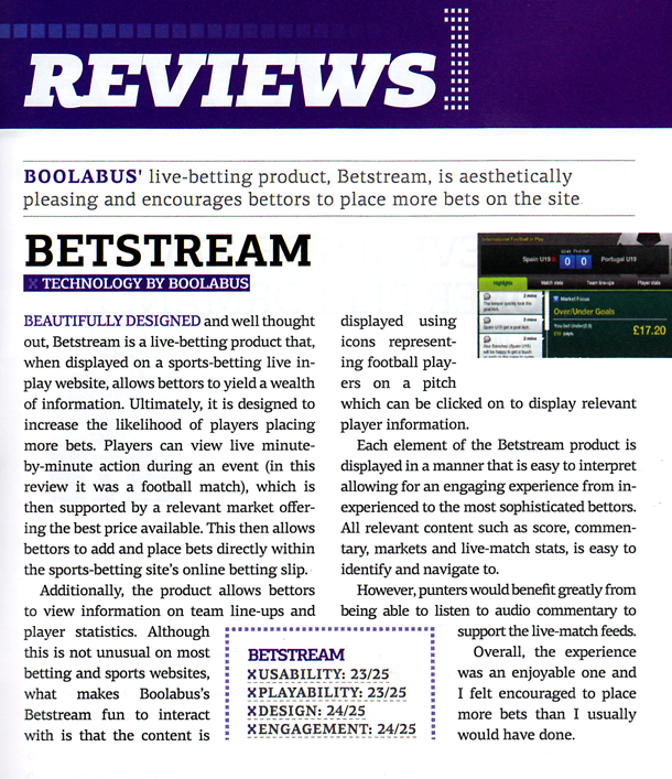 Egaming review betstream boolabus totesport